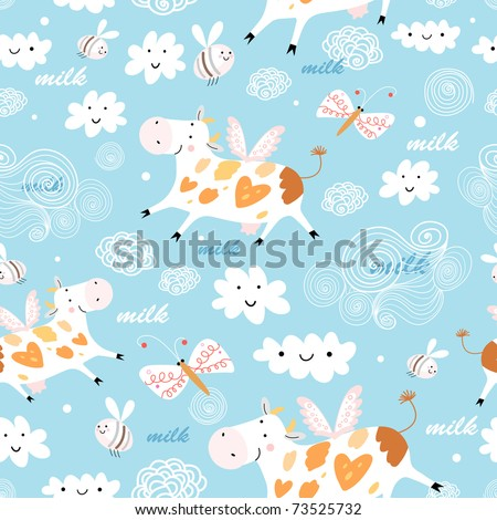 pattern flying cow - stock vector