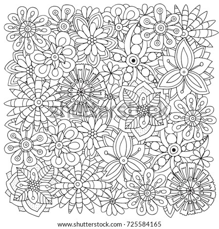 Pattern For Adult Coloring Book Flowers Ethnic Floral Retro Doodle Vector Tribal Design Element Black And White Background