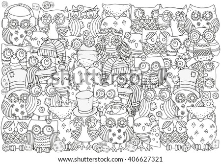 Pattern for coloring book. A4 size. Owls. Black and white  background. Artistically drawn, zentangle, stylized, feathers. Zen art. Coloring book page for adult and children.