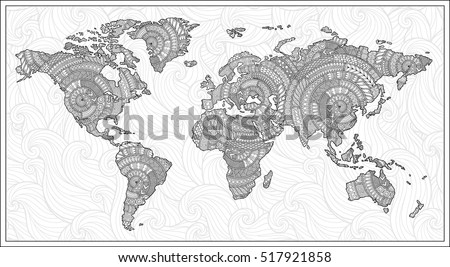 Pattern for coloring book.  Black and white doodle graphic illustration of map of world.