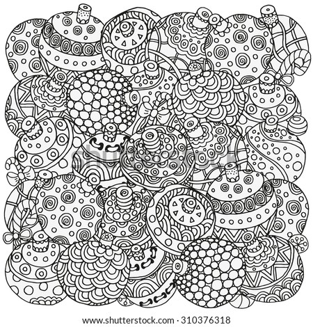 Coloring Page With Vintage Flowers Pattern For Book Christmas Hand Drawn Decorative Elements In Vector