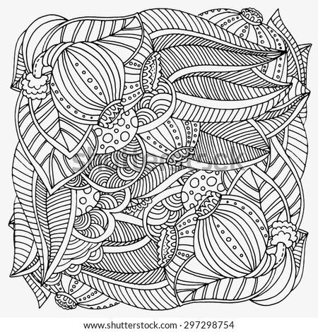 Pattern for coloring book.  Ethnic, floral, retro, doodle, gooseberry, vector, tribal design element. Black and white  background.