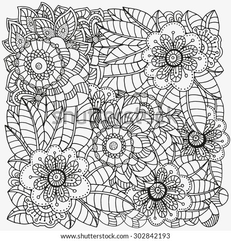 Pattern For Coloring Book Ethnic Floral Retro Doodle Vector Tribal Flowers In Black And White