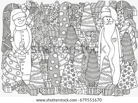 Stock Photo Pattern for coloring book of Christmas trees, gifts, Santa, Snowman, hand-drawn elements in vector. Landscape, A4 size. Fancy Christmas trees, balls.  Black and white.