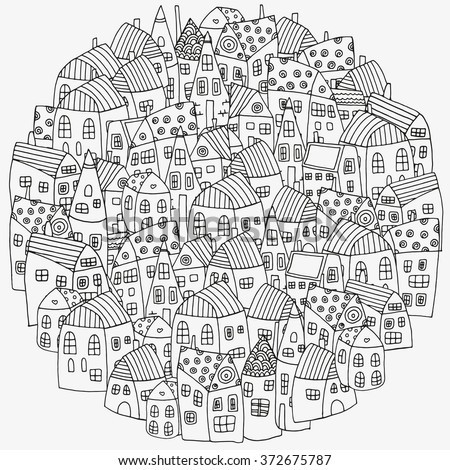 Pattern for coloring book with artistically houses. Street background. Made by trace from sketch. Ink pen. Zentangle. Black and white pattern in vector.