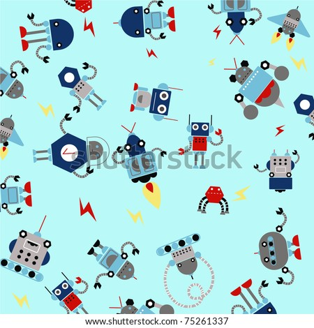 pattern for kids with robots.
