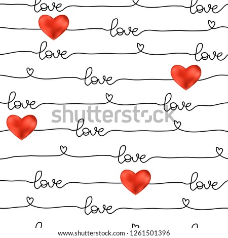 Pattern for Valentine's Day simple line seamless design with realistic 3D hearts