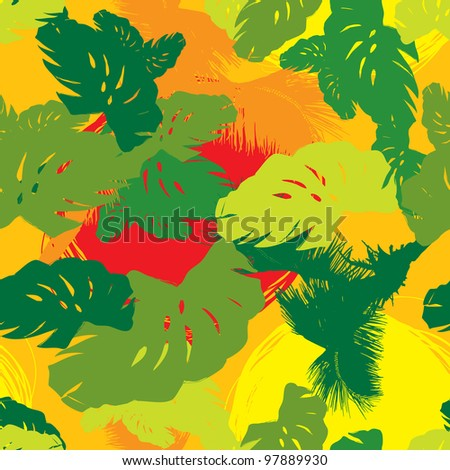 pattern from the leaves of tropical trees and palms