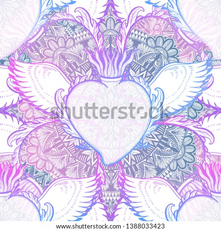 Pattern graphic illustration Beautiful holy heart with mystic and occult symbols. Esoteric boho style. Vector