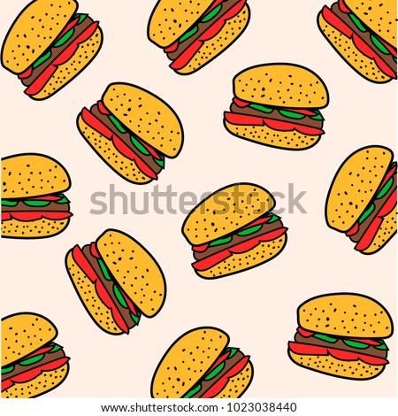 Pattern hamburger. Vector illustration