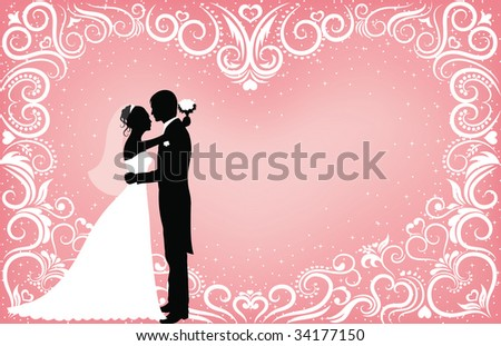 Pattern in a shape of a heart on a pink background with sparkles and silhouettes of groom and bride.