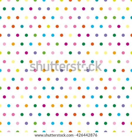 Pattern in the small dots. Tile vector pattern with color polka dots on white background