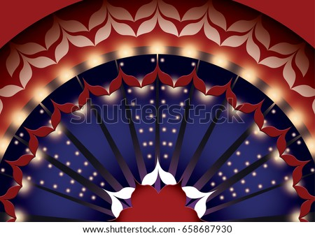 Pattern in the style of the Moulin Rouge. Red and white pattern. Vintage background with show light. Photo stock ©