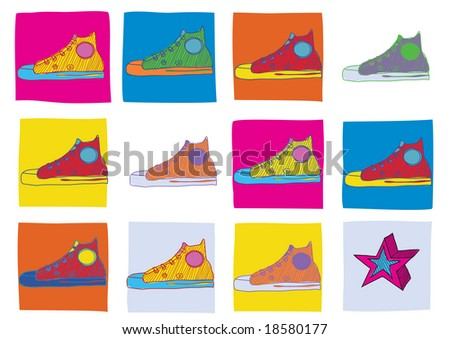 pattern made of  cool hand-drawn sport shoes in different colors . Vector illustration
