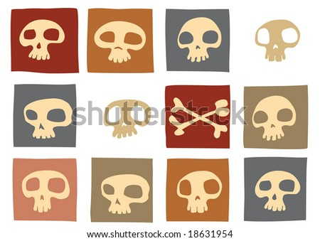 Pattern made of funny skulls and bones in different colors. Vector illustration