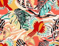 Pattern of a tropical artwork, with multicolored hand drawn elements and funny patchwork background. Monstera and Toucans pattern, perfect for fashion and decoration