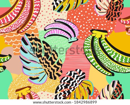 pattern of a tropical artwork, with multicolored hand drawn elements and funny patchwork background
