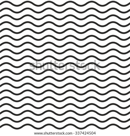 Pattern of black wavy line with white background - Shutterstock ID 337424504
