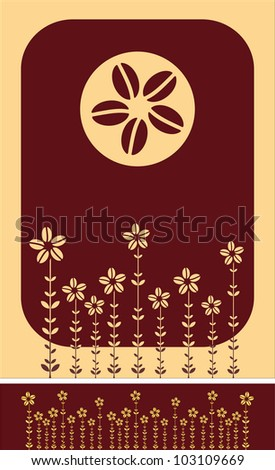 pattern of coffee beans, flowers, plants, vector illustration