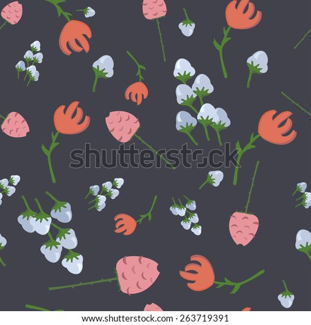 pattern of different flowers tulips and roses