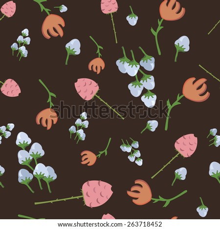 pattern of different flowers tulips, roses