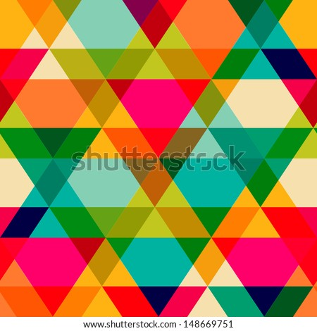 Pattern of geometric shapes. Triangles.Texture with flow of spectrum effect. Geometric background. Copy that square to the side, the resulting image can be repeated, or tiled, without visible seams.