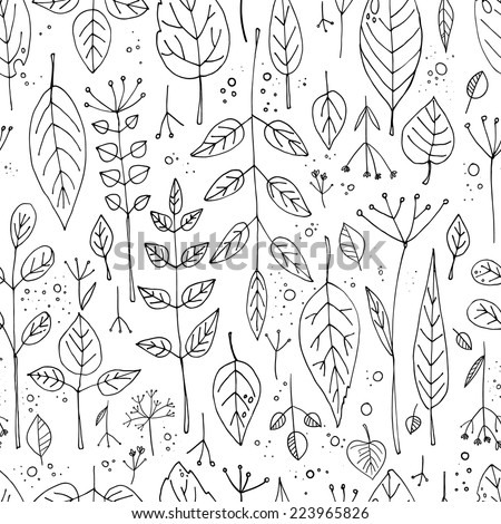 Pattern of grass and leaves autumn theme Vector pattern