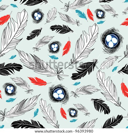 pattern of nests and feathers - stock vector