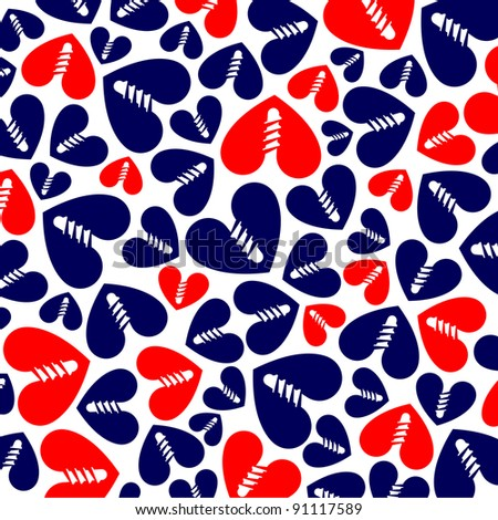 pattern of red and blue hearts on white