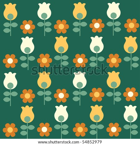 pattern of red flowers with yellow and white tulips