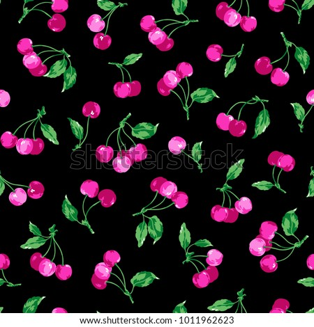 Pattern of the cherry, I made a cherry a seamless pattern,