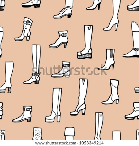 pattern of various female boots #1053349214