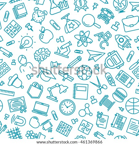 Pattern of welcome back to school with modern thin line icons school supplies. Back To School Background. Back to school super shopping. Super sale. Vector illustration.