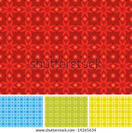 Pattern of XMAS day with christmas flower and balls in different colors - stock vector