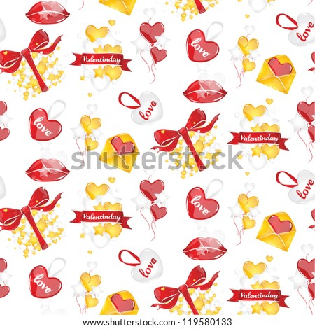 Pattern on Valentine's Day Valentine's Day heart balloons gifts ribbons symbols of love