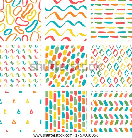 Pattern pack. Vector seamless patterns set in scandinavian style. Vivid colored summer collection backdrops for printing on paper or fabric. Many circles, brushstrokes, diamonds, triangles, waves.  Stock photo ©