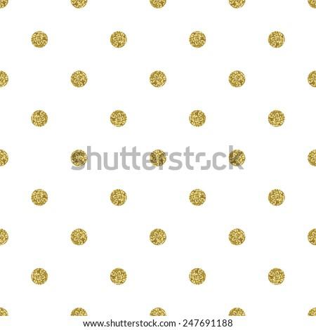 Pattern polka dot. Classic dotted seamless gold glitter pattern.