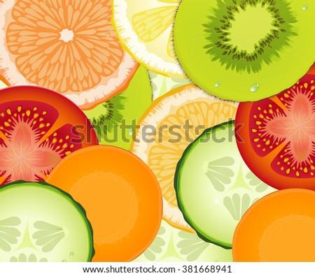 pattern realistic tomato, cucumber, lemon, carrot, grapefruit, orange, kiwi,  fresh vegetarian texture, vector #381668941