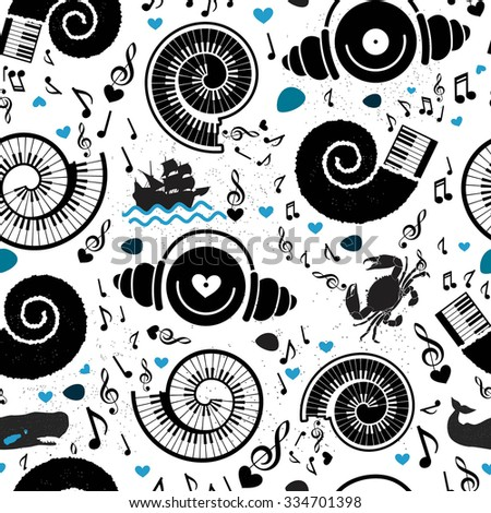pattern sea elements and music