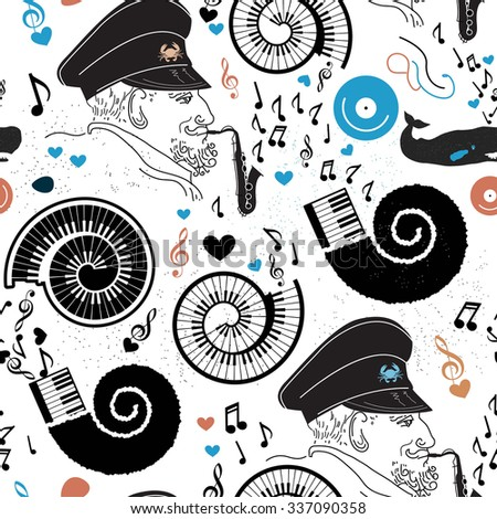 pattern sea  sea captain and