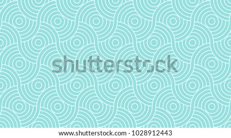 Pattern seamless circle geometric abstract wave background stripe green aqua two tone colors and line.