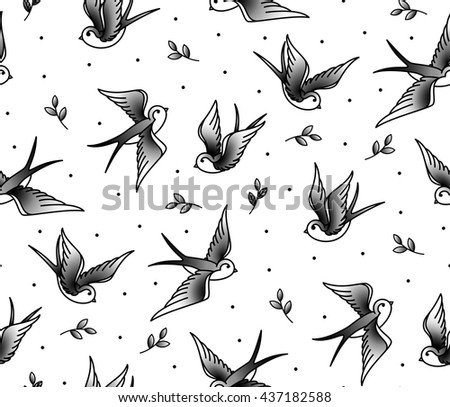 Pattern Seamless with swallows and the plant in an old school tattoo. Monochrome pattern of birds. Background for cloth, covers and postcards.