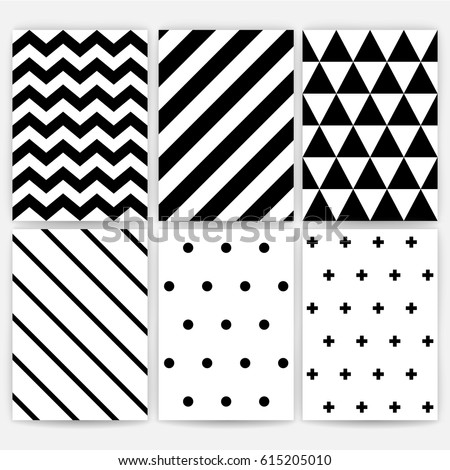 Pattern set. Geometric Vector background. Black and white stripes, polka dots, zig zag, triangles, line. Hipster decoration style. Texture for fabric textile. A4 paper for posters, postcards, wrapping