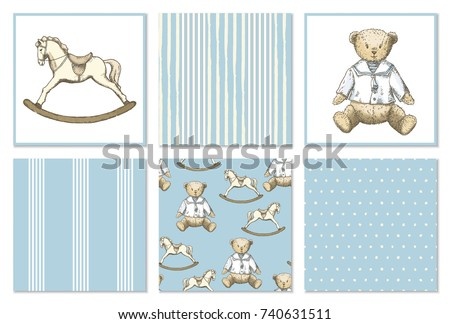 Pattern set with hand drawn bear and rocking horse in vintage style. Vector set in blue and beige colors. Perfect for kids textiles, wallpaper and prints. Photo stock ©