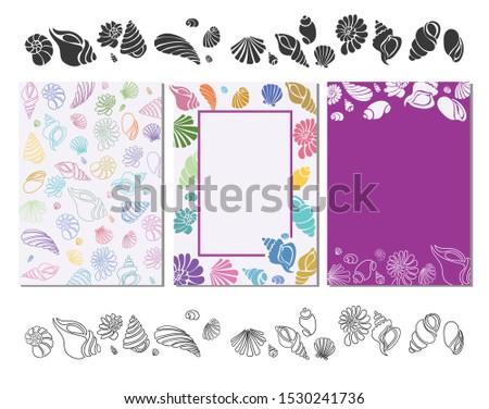 Pattern shells, doodle shells, background shells, doodle vector shells