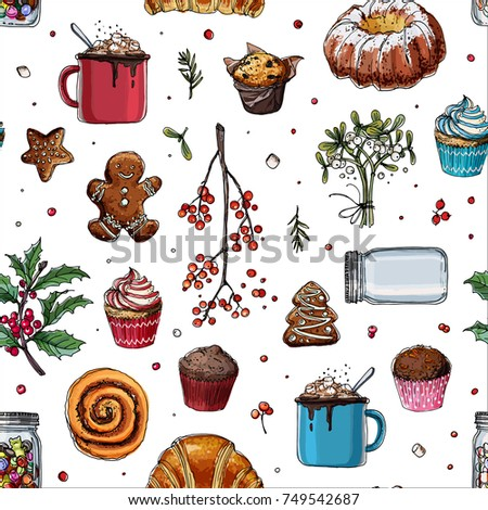 Stock Photo Pattern sketch Christmas sweets. Baking drawn line is not white. Color sketch of food. Mug with cocoa, muffin, ginger biscuits, a can of lollipops. Sweets, Christmas treats.