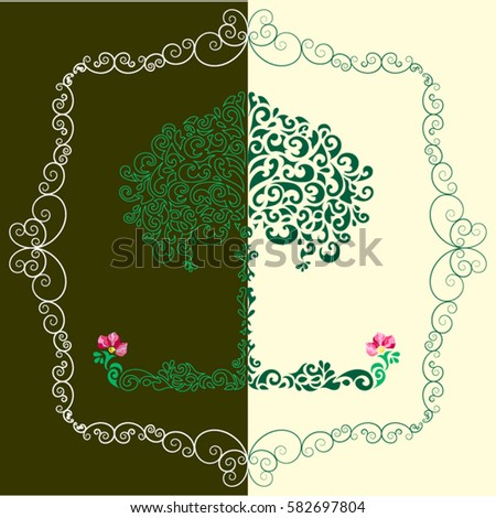 pattern  tree with flower and