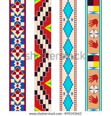 Pattern tribe Dakota Indians. Repeated pattern. Four isolated variant.