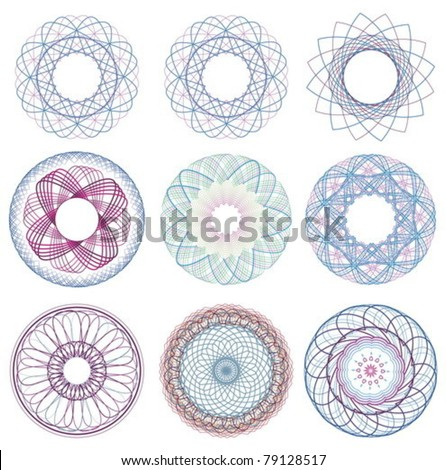 pattern vector elements for currency, certificate or diplomas.
