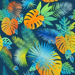Pattern vector neon tropical leaves of palm, monstera, fern. Orange, purple and green plants on a blue background.